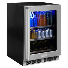 24-In Professional Built-In Beverage Center with Door Style - Stainless Steel Frame Glass, Door Swing - Right