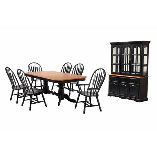 Double Pedestal Trestle Dining Set w/China Cabinet - Antique Black (9 Piece)