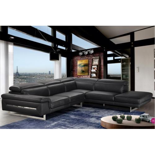 Accenti Italia Lazio- Italian Black Leather Sectional Sofa
