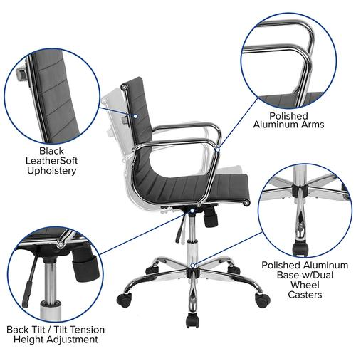 Mid-Back Black LeatherSoft Mid-Century Modern Ribbed Swivel Office Chair with Spring-Tilt Control and Arms