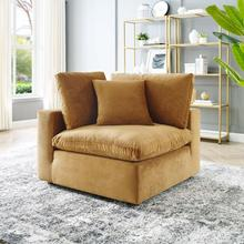 Commix Down Filled Overstuffed Performance Velvet Corner Chair in Cognac