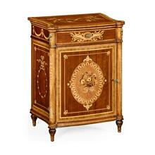 Fine mahogany bedside cabinet with floral marquetry inlays (Left)