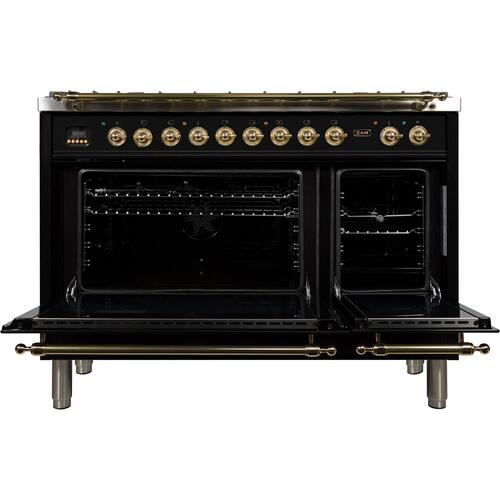 Nostalgie 48 Inch Dual Fuel Liquid Propane Freestanding Range in Glossy Black with Brass Trim