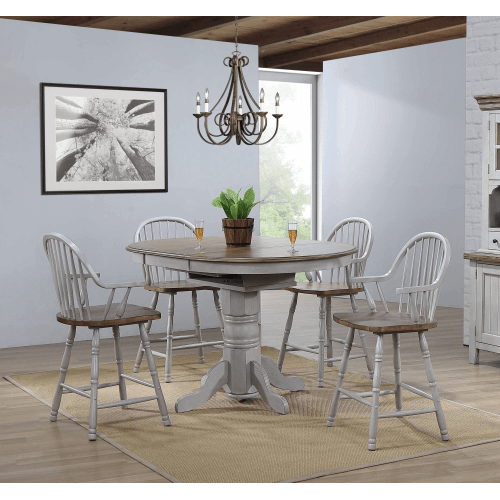 Round or Oval Extendable Pub Table - Distressed Gray & Brown