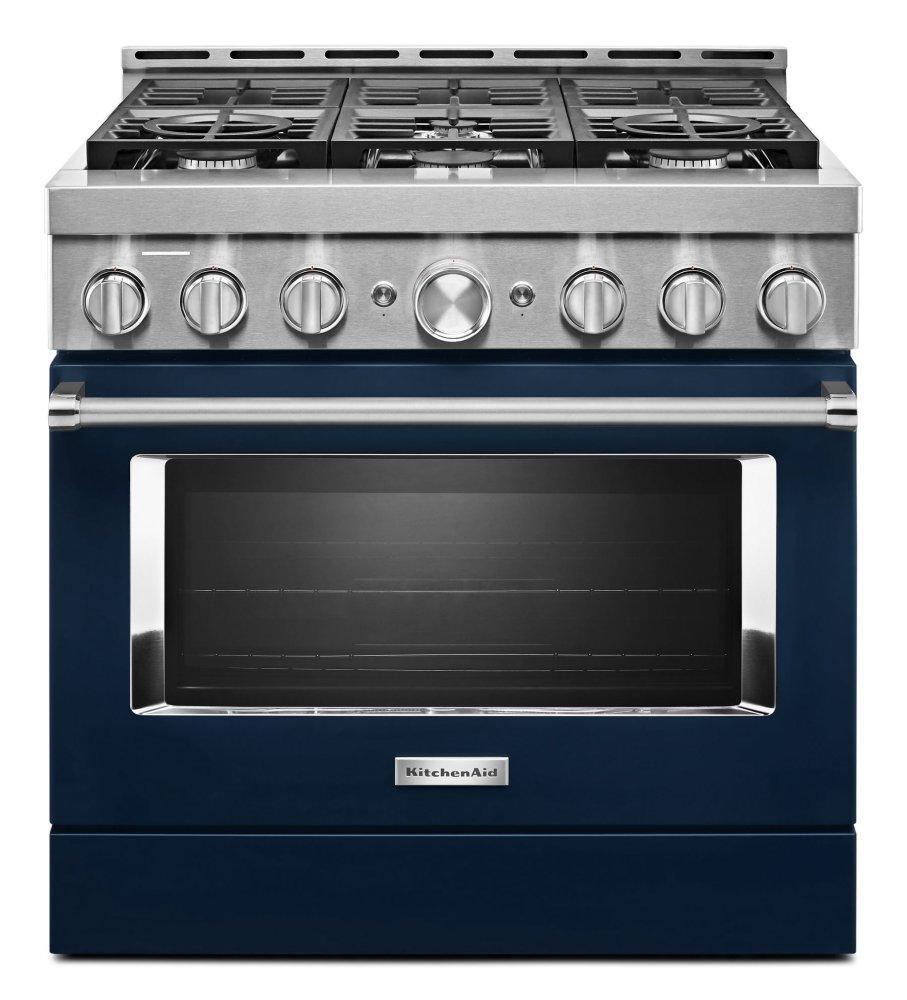 KitchenaidKitchenaid® 36'' Smart Commercial-Style Gas Range With 6 Burners - Ink Blue