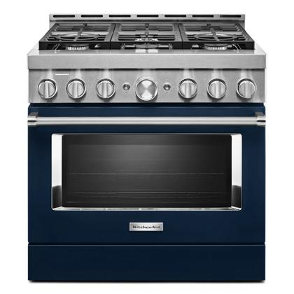 KitchenAid® 36'' Smart Commercial-Style Gas Range with 6 Burners - Ink Blue