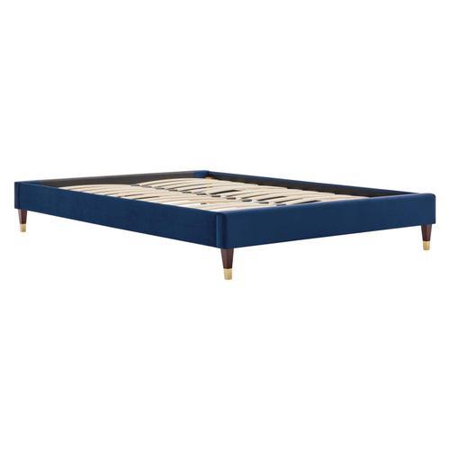 Harlow Full Performance Velvet Platform Bed Frame in Navy