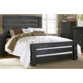 King Distressed Black Slat Bed