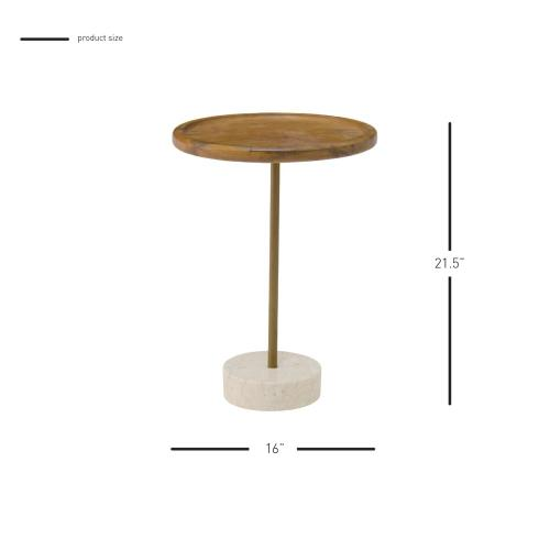 Roya KD Teak Side/ End Table Marble Base, Natural