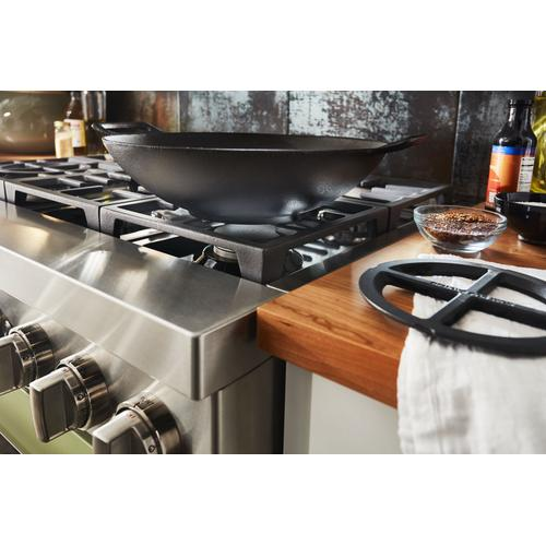 KitchenAid® 36'' Smart Commercial-Style Dual Fuel Range with 6 Burners - Avocado Cream
