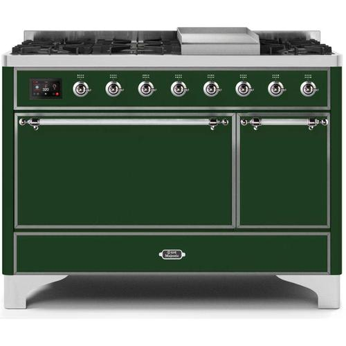 Ilve - Majestic II 48 Inch Dual Fuel Natural Gas Freestanding Range in Emerald Green with Chrome Trim