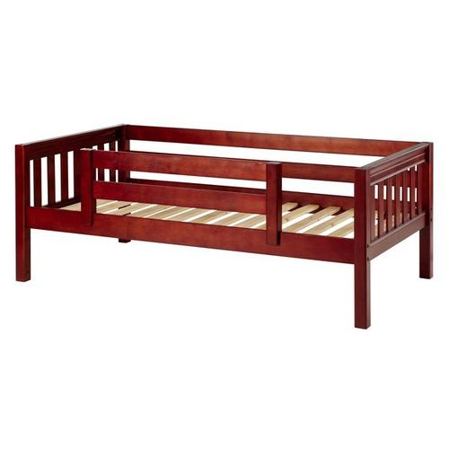 Maxtrix - Daybed w/ Back and Front Safety Rails : Twin : Chestnut : Slat