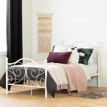 Summer Breeze - Complete Metal Platform Bed, Pure White, Twin