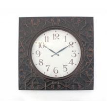 "28"" x 28"" x 2"" Brown, Vintage, Square, Brass Metal - Wall Clock"