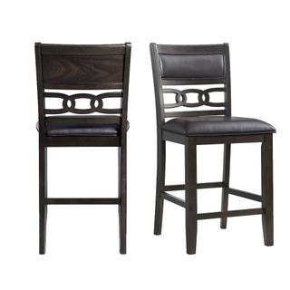 See Details - Amherst Counter Height Faux Leather Side Chair Set in Walnut