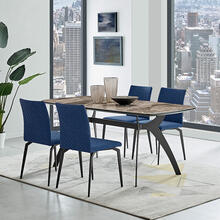 Andes and Lyon Blue Fabric 5 Piece Rectangular Dining Set