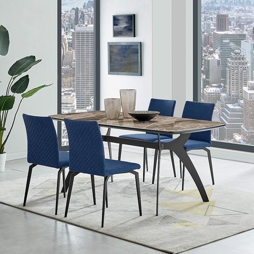 Andes and Lyon Blue Fabric 5 Piece Rectangular Dining Set