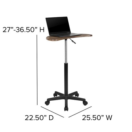 Flash Furniture - Rustic Walnut Sit to Stand Mobile Laptop Computer Desk