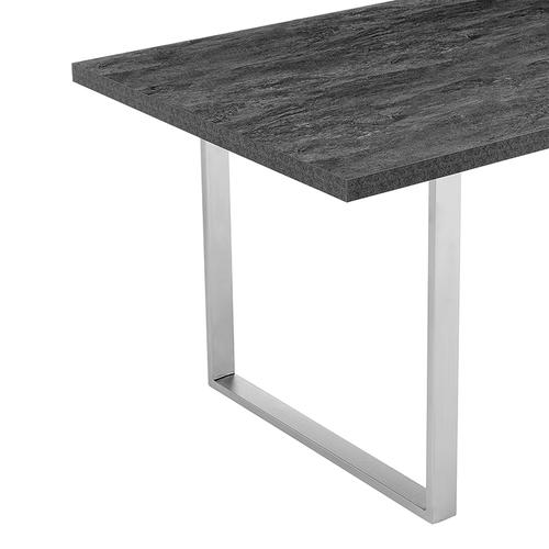 Armen Living - Fenton Dining Table with Charcoal Top and Brushed Stainless Steel Base