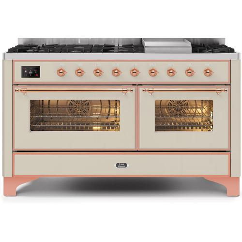 Ilve - Majestic II 60 Inch Dual Fuel Natural Gas Freestanding Range in Antique White with Copper Trim