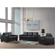 Henley Loveseat in Faux Black Leather Fabric