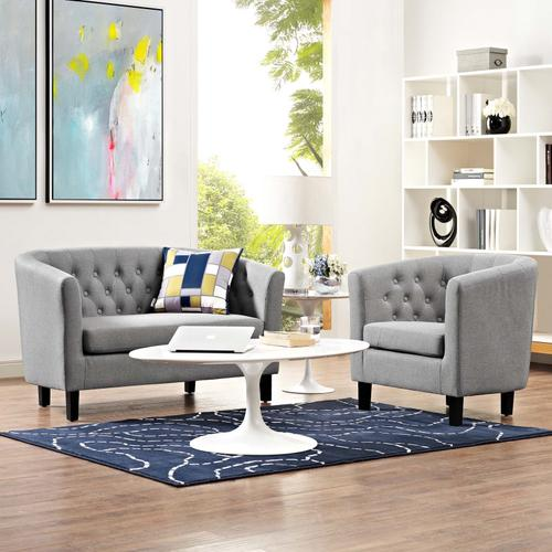 Modway - Prospect 2 Piece Upholstered Fabric Loveseat and Armchair Set in Light Gray