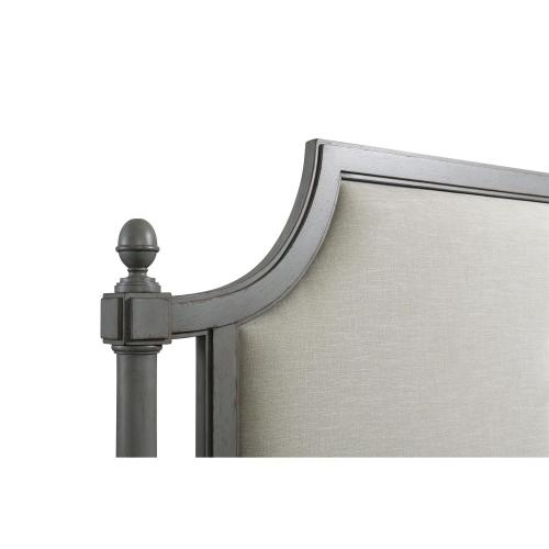 Bella Grigio - Queen Upholstered Panel Headboard - Chipped Gray Finish