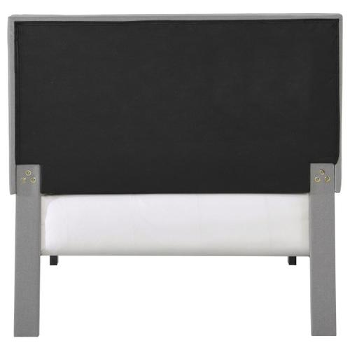 Grid Tufted Twin-Sized Platform Bed in Gray