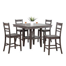 See Details - Square Pub Table Set w/Storage Shelf - Shade of Gray (5 Piece)