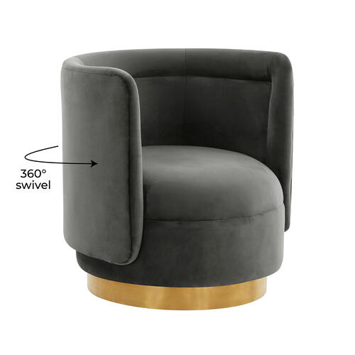 Tov Furniture - Remy Dark Grey Velvet Swivel Chair