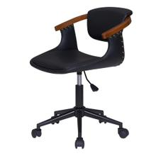 Darwin KD PU Bamboo Office Chair, Black/Walnut