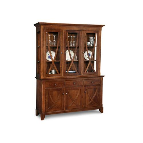 - Florence Buffet&Hutch w/3 Wood Doors & 3/Glass Doors & 3/Dwrs & Glass Gables&Shelves & LED Lighting