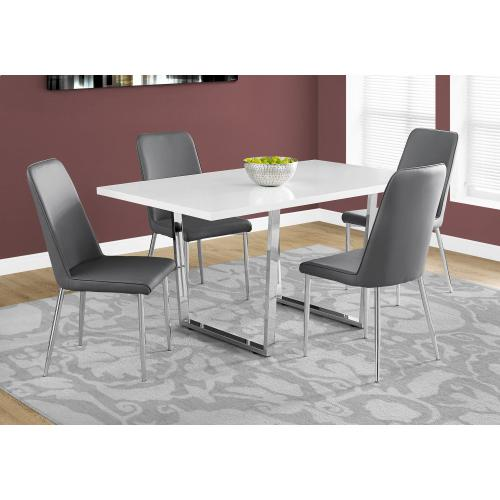 """Monarch Specialties Inc. - DINING TABLE - 36""""X 60"""" / WHITE GLOSSY / CHROME METAL"""