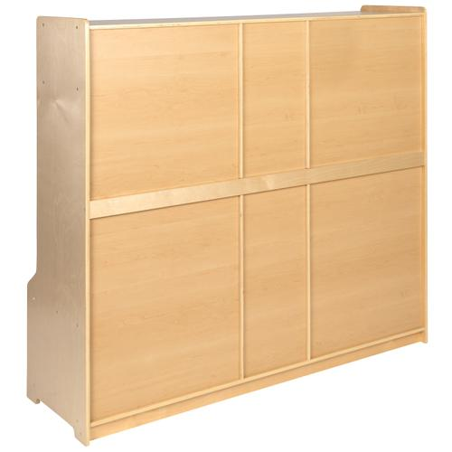 """Flash Furniture - Wooden 5 Section School Coat Locker with Bench, Cubbies, and Storage Organizer Hook-Safe, Kid Friendly Design - 48""""H x 48""""L (Natural)"""