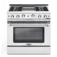 """Product Image - 36"""" Gas Self Clean Range, Rotisserie, 4 Open Burners, 12"""" Thermo-Griddle"""