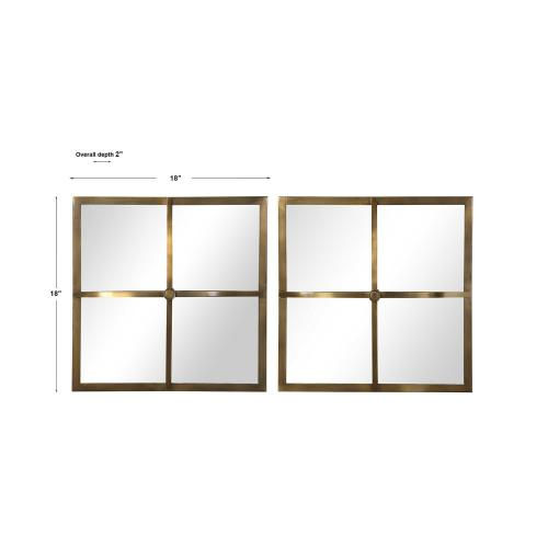 Window Pane Square Mirrors, S/2