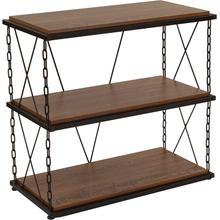 """Product Image - Vernon Hills Collection 3 Shelf 29""""H Chain Accent Metal Frame Bookcase in Antique Wood Grain Finish"""