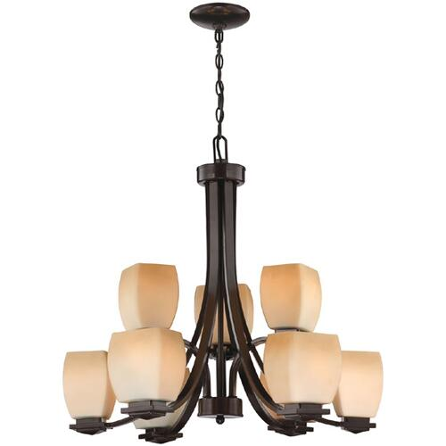 3/6-lite Chandelier Lamp, Dark Bronze/amber Glass, E27 A 60w