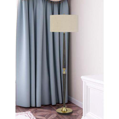 Pescara Metal/Wood Floor Lamp With Burlap Drum Shade