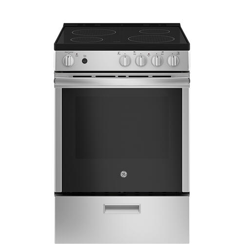 """GE 24"""" Electric Freestanding Range with Removable Storage Drawer Stainless Steel - JCAS640RMSS"""