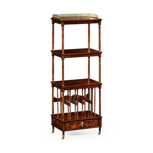 Mahogany three-tier shelf with canterbury