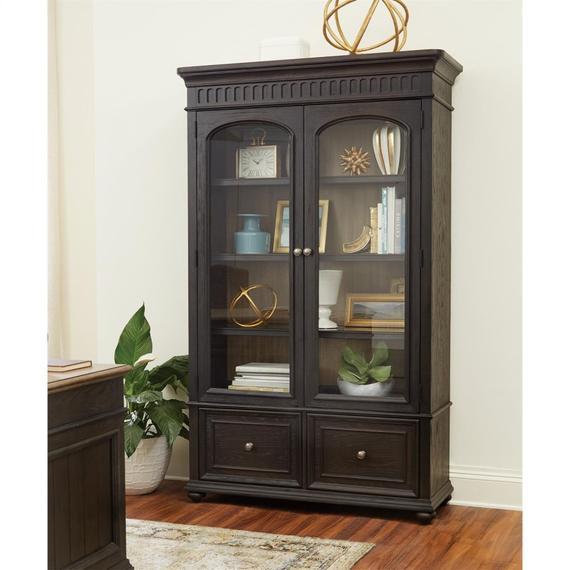 Riverside - Regency - Bookcase File - Antique Oak/matte Black Finish