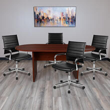 5 Piece Mahogany Oval Conference Table Set with 4 Black LeatherSoft Ribbed Executive Chairs