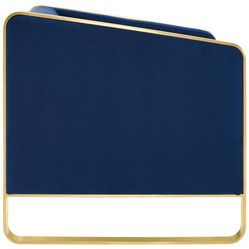 Visualize Accent Club Lounge Performance Velvet Armchair in Navy