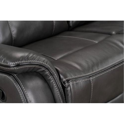 Avalon Manual Motion Reclining Sofa with Drop Down Table and Power Strip, Brown
