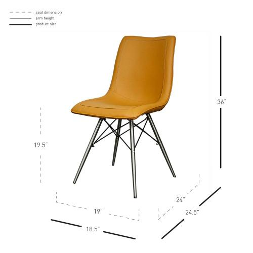 Product Image - Blaine KD PU Dining Side Chair Stainless Steel Legs, Turmeric