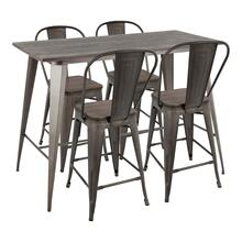See Details - Oregon High Back Counter Set - Antique Metal, Espresso Bamboo