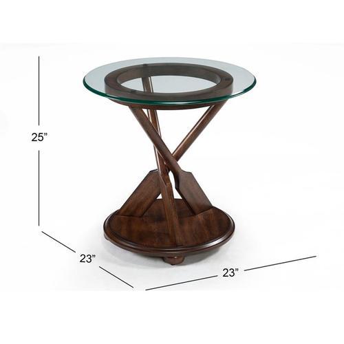 Beaufort Round End Table in Dark Oak Finish