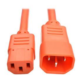 Heavy Duty PDU Power Cord, C13 to C14 - 15A, 250V, 14 AWG, 3 ft., Orange