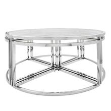 Metal Pull Out Coffee Table, Silver